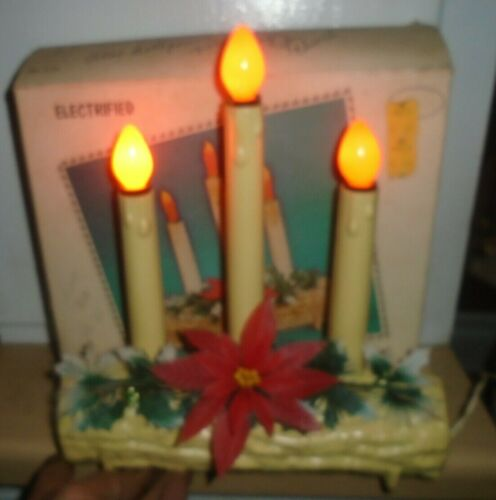 VINTAGE  UNION  CHRISTMAS PLASTIC LIGHTED YULE LOG ELECTRIC 3 CANDLE
