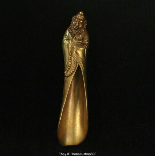 Old Chinese Buddhism Antique Bronze Gild Dharma Lohan Buddha Tea Spoon Statue