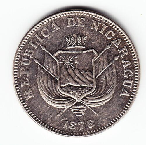 NICARAGUA 1 centavo 1878 KM1 Cu-Ni 1-year type VERY HIGH GRADE - NICE & RARE !