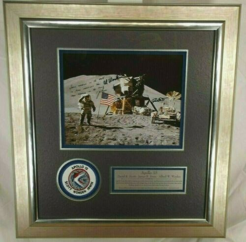 Apollo 15 Crew Signed NASA Litho Display Dave Scott, James Irwin & Alfred Worden
