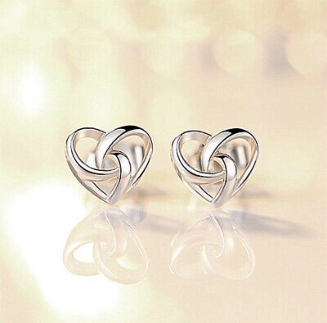 Jewellery - 925 Sterling Silver Stunning Swirl Heart Stud Earrings Womens Jewellery Gift UK