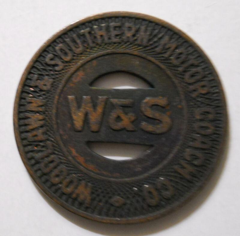 Woodlawn & Southern Motor Coach (Aliquippa, Pennsylvania) transit token - PA10E