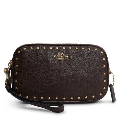 Coach Crossbody BAG Oxblood Leather Clutch with Border Rivets
