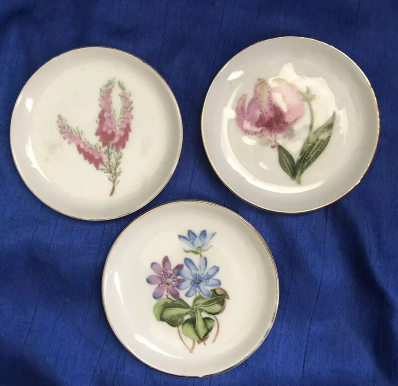 Lot of 3 Vintage White China Butter Pats with Various Floral Designs Gold Trim