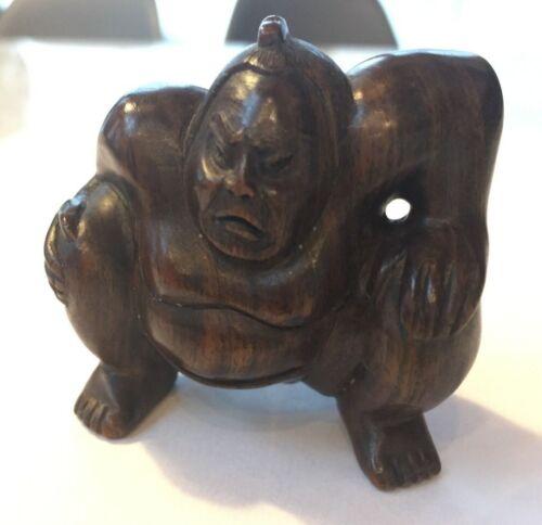 """FINE: Antique Wooden Japanese SUMO WRESTLER Rikishi Netsuke  """"Okimono"""" - SIGNED!"""