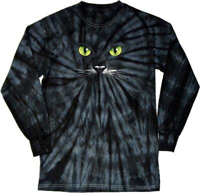 Halloween T-shirt Black Cat Tie Dye Long Sleeve