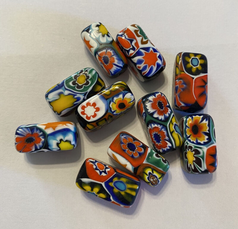 10 Vintage Millefiori Beads-New Old Stock Merano Italy-Size 18mm x 10mm