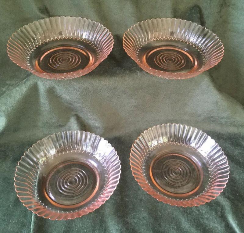 """Lot Of 4 MACBETH-EVANS Pink Depression Glass PETALWARE 5 1/2"""" CEREAL BOWLS"""