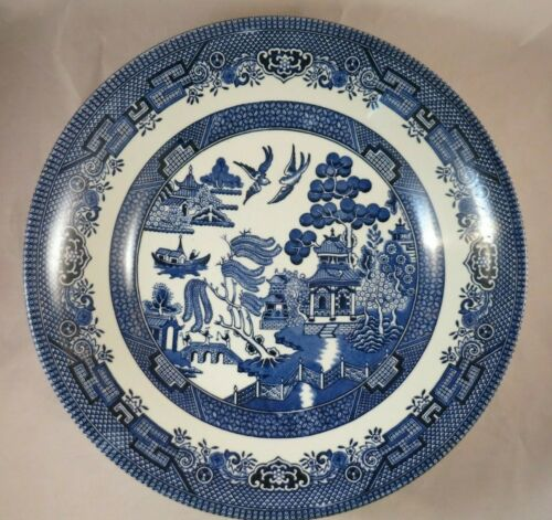 Churchill England BLUE WILLOW 9 In Round Serving Bowl -  EUC