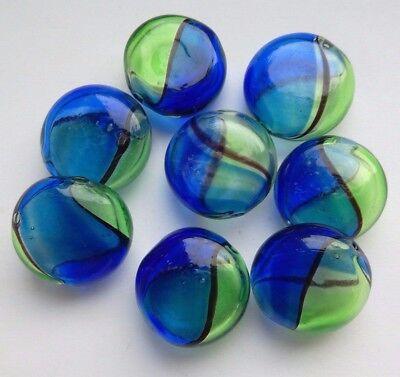 8 Hand Blown Art Glass Lampwork Flat Circular Beads, Blue/Green. Bead/Crafts