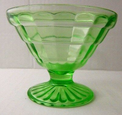 Green Depression Glass Sherbet - Hocking Glass Block Optic-Excellent Condition!