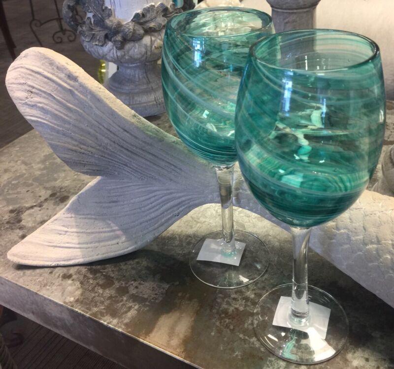 Cracker Barrel NEW COASTAL MERMAID Collection,Teal Set (2) Wine Glasses NWT