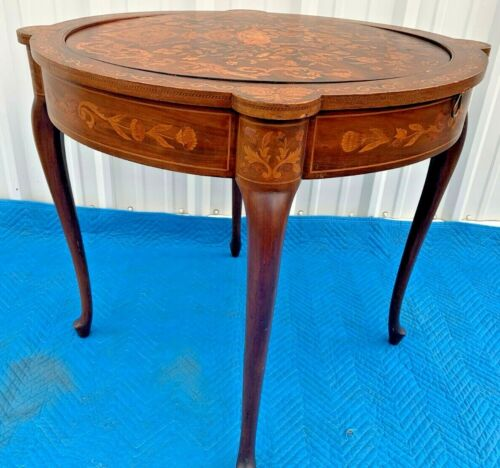 ANTIQUE ENGLISH REVERSIBLE 2-SIDE RD.GAMES TABLE MARQUETRY WOOD SIDE & GAME SIDE