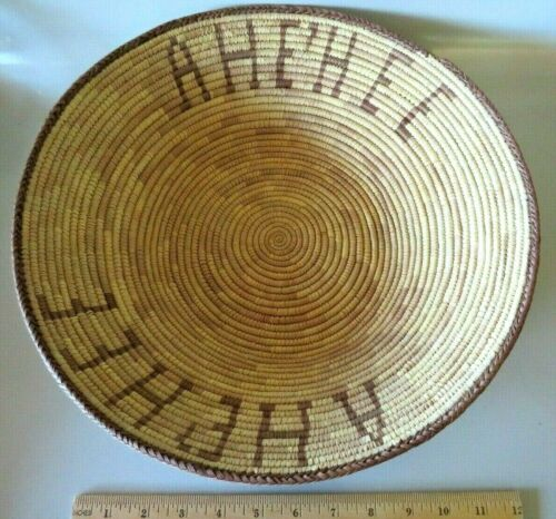 """LARGE 14"""" NAVAJO NATIVE AMERICAN COIL THANKSGIVING BASKET SAYS AHE"""