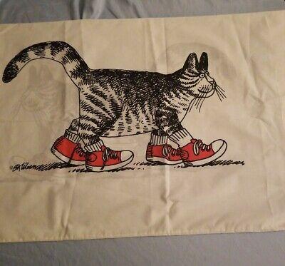 Vintage B Kliban Cat Pillowcase King 1980's Black & White Cat Red Shoes Sneakers