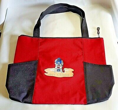 M&M's Beach Tote Bag Zipper Clousure Two Holders w/ Just Chillin' Blue Character