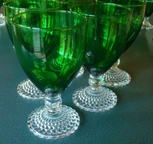 ANCHOR HOCKING BOOPIE FOREST GREEN FOOTED BUBBLE WATER WINE GOBLET GLASS SET 5