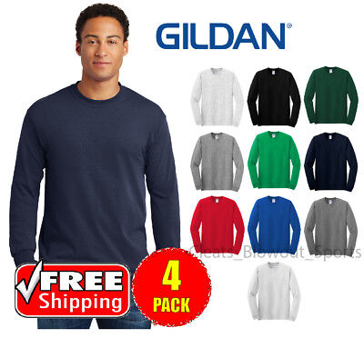 4 PACK Gildan Heavy Cotton Long Sleeve T Shirt Mens Blank Casual Plain Tee (Gildan Ribbed T-shirt)