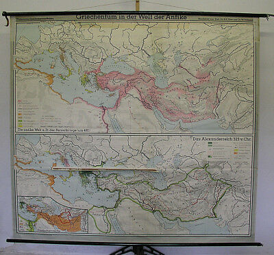 Wall Map Greek Antique Persian Platon Socrates Theben Sparta Macedonia 210x191