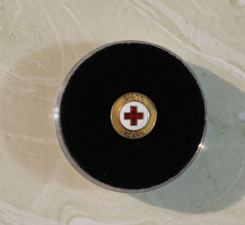 Vintage, 14K  RED CROSS TIE TACK PIN FOR 50 YEARS OF SERVICE