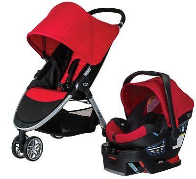 Britax B-AGILE 3 Travel System Stroller w B-SAFE 35 Infant Car Seat Red NEW 2017