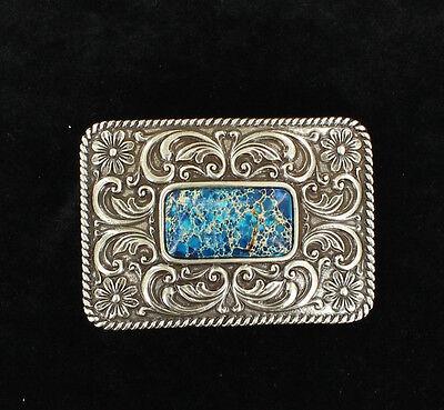 Silver & Blue Faux Lapis-azurite Stone Western Belt Buckl...