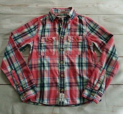 (Abercrombie Kids Boys Long Sleeve Shirt Size XL Pink White Plaid Flannel Muscle)