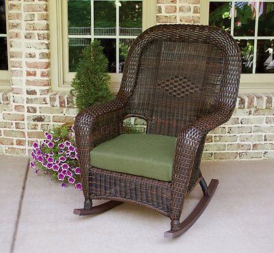 Dark Brown Wicker Rocking Chair With Green Cushion