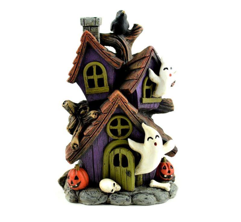 Miniature Dollhouse Fairy Garden Halloween LED Lighted Haunted House MW262