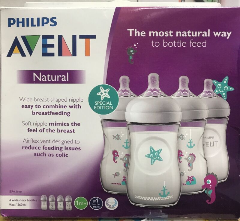 Philips Avent Natural Baby Bottle with Seahorse Design, 9oz, 4pk, SCF659/47