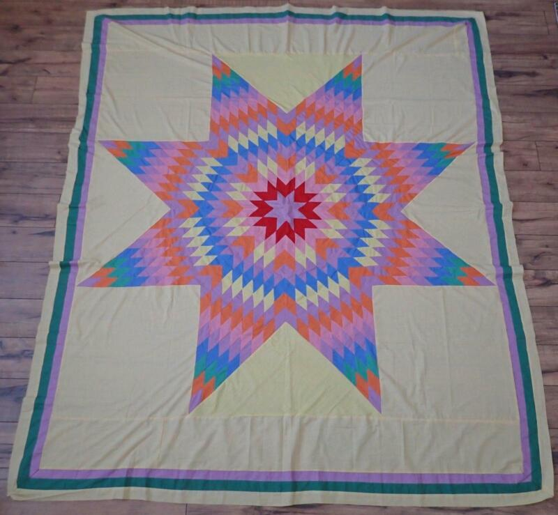 Excellent 30s Vintage Blazing Star QUILT TOP on Yellow 79x68