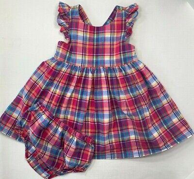 Ralph Lauren Baby Girls 9 Months Pink Plaid Dress with Bloomer