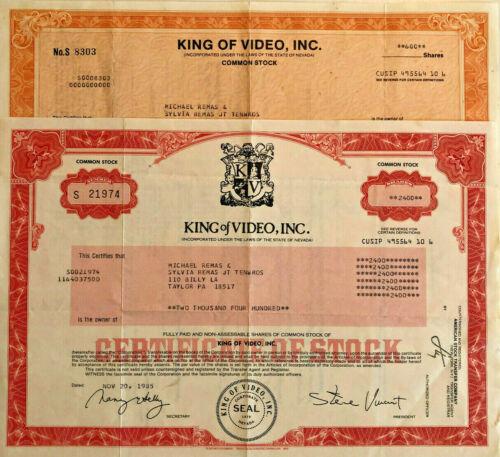 King of Video > set 2 1985 Nevada stock certificates > President Steve Vincent