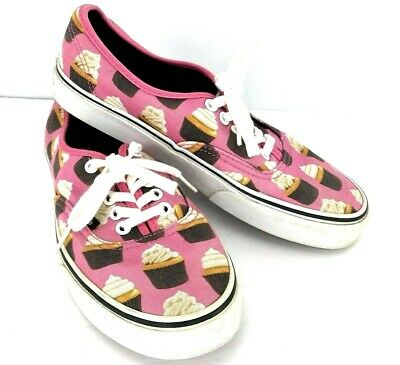 Cupcake Tennis Shoes (Vans Authentic Women 8 Late Night Hot Pink Cupcakes Sneakers Tennis Shoes)