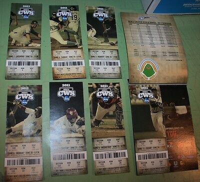 2011 College World Series Cws Td Ameritrade Park Omaha  Ticket Stub Lot Of 7