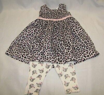 CARTERS BABY GIRL GRAY PINK BLACK SILVER LEOPARD DRESS KITTY CAT LEGGINGS 3-6