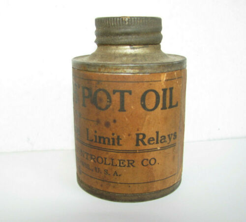 c1920 IC DASH POT OIL TIN CAN Electrical Relays INDUSTRIAL CONTROLLER Co ANTIQUE