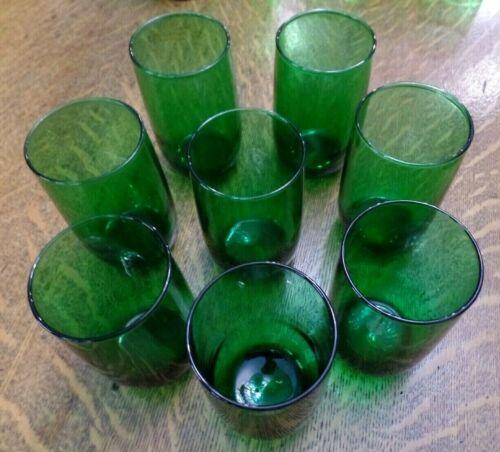 """Lot 8 Vtg AH? Forest Green Large 4"""" Juice Glasses 8 - 10 oz. Round Base EC"""