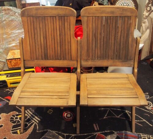 Double Antique Vintage Folding Wooden Chair Bench Church Theater Train Station