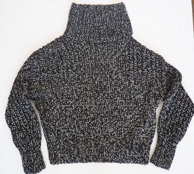 New RAG & BONE Sandra Black/Slate Chunky Knit TNeck Sweater Large $595 - Knit Black Slate