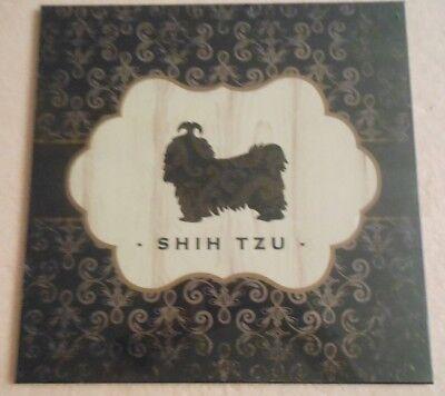 "SHIH TZU BROCADE MDF ART WALL PLAQUE  12"" X 12"""