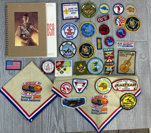 Lot of Vintage BSA Boy Scouts of America Patches, Book and Kerchiefs