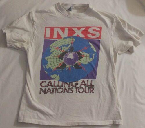 INXS CALLING ALL NATIONS 1988 TSHIRT VINTAGE, rare, hanes tag, white, rock, 80
