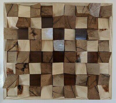 "Acoustic Panel - Sound Diffuser -Wood Mosaic-Teak- White Pine-Oak. 17 x 15 x 3""."