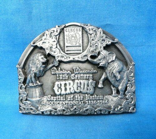Vintage Delavan Wis - 19th Century Circus Belt Buckle - w/Display Stand   MMR071