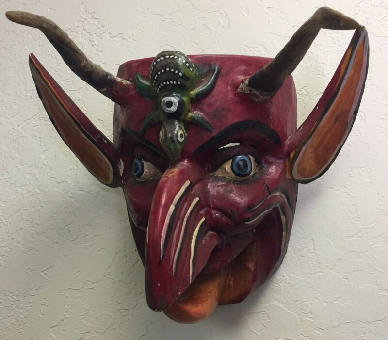 """VTG Mexico Guerrero Hand Carved & Painted Wood Art Mask Diablo 9.5"""" T x 11.5"""""""