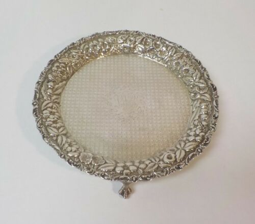 "Baltimore Sterling Silver REPOUSSE 8"" Footed Tray, c. 1900, 310 grams"