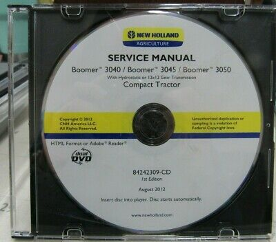 New Holland Boomer 304030453050 Service Manual On Cd 84242309-cd