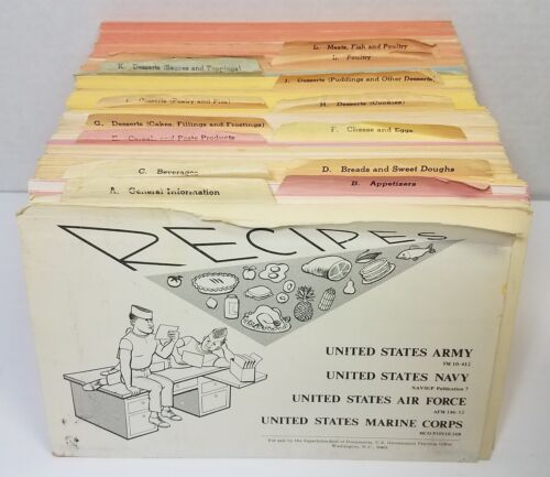 Vtg Military Recipe Cards Army Navy Kitchen Cook