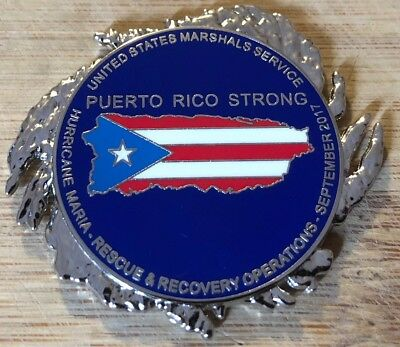 Us Marshals Service   Hurricane Maria   Rescue   Recovery Silver Challenge Coin